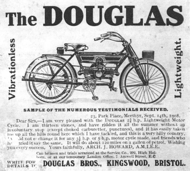 Douglas motorcycles advert from 1908