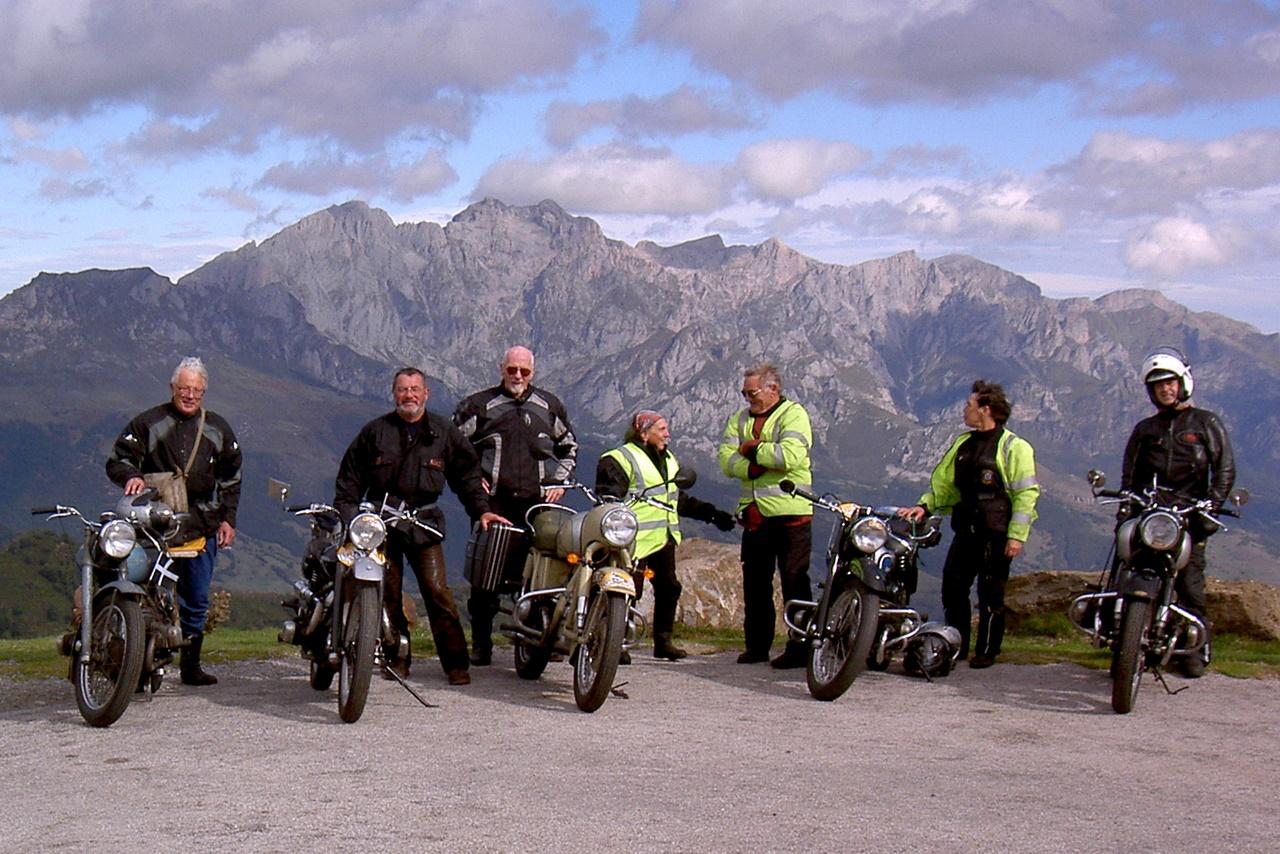 Douglas riders at the Colombres rally, Picos de Europa