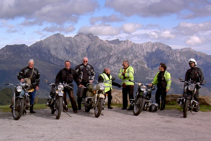 Douglas riders at the Colombres rally, Picos de Europa