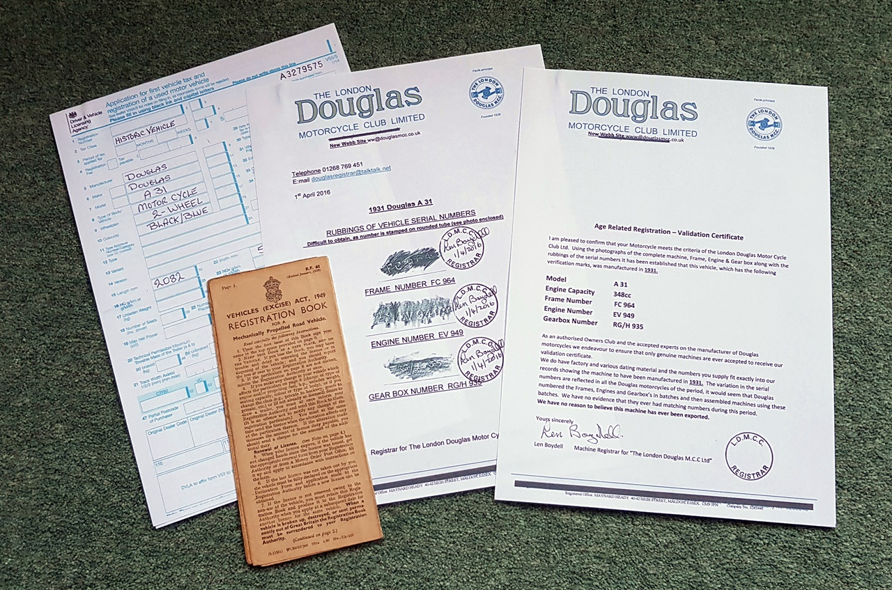 DVLA Documents Douglas Motorcycle