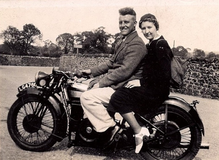 Charlie and Betty Sim on Douglas Motorcycle