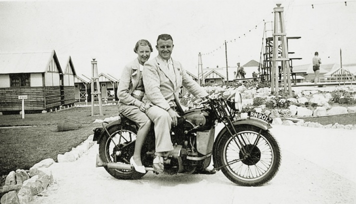 Charlie and Betty Sim on Douglas Endeavour Motorcycle