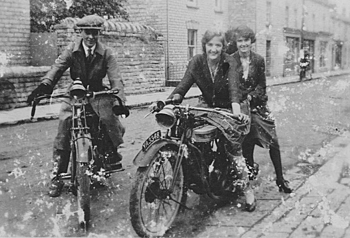 Dorothy Locke 1924 with Douglas Motorcycle